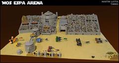 Star Wars: Mos Espa Arena (thire5) Tags: star wars indoor base lego desert podracer podracers race anakin skywalker quigon jinn padme amidala sebulba watto jabba hutt r2d2 c3po
