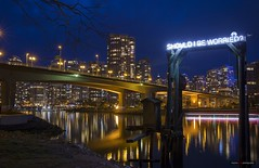 Find The Cost Of Freedom (Clayton Perry Photoworks) Tags: vancouver bc canada spring explorebc explorecanada skyline night lights reflections sign art justinlanglois shouldibeworried