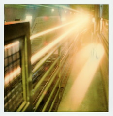 Northbound Red Line (tobysx70) Tags: polaroid originals color sx70 instant film sx70sonar sonar roidweek roid week polaroidweek spring april 2018 northbound red line hollywood vine station boulevard blvd los angeles la california ca subway underground train motion blur tunnel light trail vanishing point hand held day1 toby hancock photography