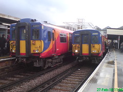 455869 455703 (Rob390029) Tags: 5869 5703 455869 455703 class 455 south west trains train track tracks rail rails travel travelling transport transportation transit public emu electric multiple unit clapham junction railway station clj london red colour colours colourful