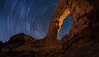 "Star trails thru South Window Arch (IronRodArt - Royce Bair (""Star Shooter"")) Tags: nightscape nightscapes startrails nightphotography starrynightsky milkyway archesnationalpark southwindowarch"