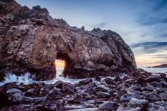Keyhole Rock at Sunset (nhblevins) Tags: bigsur california sky beach ocean coast pfeifferbeach