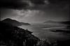 Knob Basin - Lake Gordon (niggyl (catching up)) Tags: lake southwestwildernessnationalpark southwesttasmania southwestworldheritagearea tasmania gordonriverhydroelectricscheme leicam240mp leica m240mp m240 leicaelmaritm2828asph elmaritm2828 leica2828 cloudsstormssunsetssunrises therebeastormabrewin monochrome mono blackandwhite bw lakegordon knobbasin rain mist gordonriver