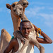 A somali man is holding a new born baby camel on his back, Awdal region, Lughaya, Somaliland
