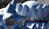 The beast lives (Travis Pictures) Tags: lincoln lincolnshire lincs luminarium miracoco grey silver red blue selectivecolour brayford outdoors art architectsofair nikon d7200 photoshop brayfordpool