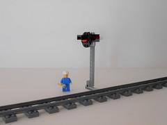 Manual Signal with Light (stbertola) Tags: lego moc train narrow gauge signal