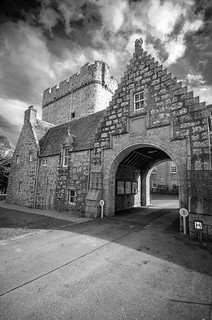at the gateway to Drum Castle, overlooked by the Old Tower. Fine art black & white, Aberdeenshire, Scotland