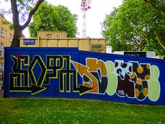 Asking for Directions (Steve Taylor (Photography)) Tags: mobilemini slope tgb graffiti streetart crane fence black blue brown green uk gb england greatbritain unitedkingdom london grass trees