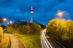 Frankfurt am Main (Hessen), Germany (maurice_st) Tags: fernsehturm europaturm langzeitbelichtung bulb street frankfurt am main
