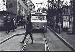 Don't Mind the Tram (karstenphoto) Tags: 35mm blackandwhite filmisalive ishootfilm artdeco transit street everybodystreet m2 leica film trix kodak analog göteborg tram swedish sweden gothenburg