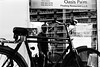 Oasis Palm... (Jetlag & A Camera Bag) Tags: dubai bicycle restaurant nikon f100 nikkor 35mm film ilford hp5 analog blackwhite streetphotography travelphotography