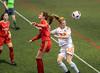 Une tête ratée (Patrick Boily) Tags: soccer match game partie feminin rouge or universite laval joueuse player goal but stade telus indoor interieur quebec uqtr patriotes