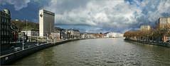 La Meuse du pont des Arches, à gauche La Batte, Liège, Belgium (claude lina) Tags: claudelina belgium belgique belgïe liège luik meuse fleuve tour architecture