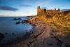 Golden Dunure Castle (dalejckelly) Tags: canon canon5dmarkiv canon2470f4lis landscape landscapephotography ayrshire dunure dunurecastle castle sunset goldenhour scotland scottish scenery scenic sea longexposure leefilters leebigstopper beach