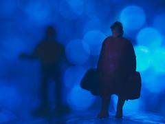 Walking Away (Jessie Bondia) Tags: blue bokeh relationships relationship breakup breakingup divorce minifig miniature macro mondays macros toys suitcase suitcases bagspacked bags packed lights foilbokeh walkingaway walking leaving walk run abandon sadness heartache sad heartbroken