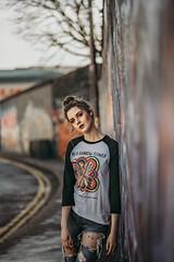 Serena (Wojtek Piatek) Tags: dublin graffiti urban city lane model portrait portret sony a7rii 85mm pretty sexy brunette wall fashion blogger wojtek piatek leading lines jeans