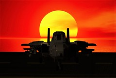 Are you ready to Ride into the Danger Zone.... (Lego Admiral) Tags: topgun lego legoadmiral tomcat grumman f14 sunset fighter jet navy usnavy