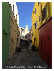 Colors, Los Angeles (Doyle Wesley Walls) Tags: lagniappe 6703 color red green yellow blue sky buildings shadows sunlight windows doors photograph iphonephoto losangeles doylewesleywalls building alley architecture colors city urban