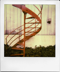 Red Stairs (irrational.photography) Tags: rational irrational photography photo irrationalphotography rationalphotography irrationalphoto polaroid theimpossibleproject impossible project original originals polaroidoriginals retro vintage antique hipster old analogue analog film square picture onestep spectra image procam se sun sx70 sx 70 600 640 660 autofocus slr 680 jobpro montreal quebec canada self developing instant border