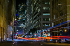 bush at montgomery street (pbo31) Tags: bayarea california nikon d810 color april spring 2018 boury pbo31 sanfrancisco city urban night dark black lightstream traffic roadway financialdistrict red bushstreet infinity montgomerystreet