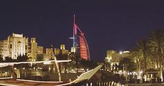 The Burj Al Arab hotel from the bar at Medinat Al Jumeirah - Dubai, February '08 (Jonmikel & Kat-YSNP) Tags: dubai uae unitedarabemirates middleeast april 2008 city view night burjalarab hotel medinataljumeirah