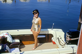 Kodachrome Slide of Lady Standing in Boat, 1967