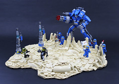 Piratical Prevention Platoon. (Mark of Falworth) Tags: lego space battle scene classic landscape exosuit exo mech blacktron legos