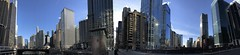 Panoramic view from the Dearborn Street Bridge around the Loop and the frozen Chicago River. (arwed.kubisch1) Tags: chicago skycrapers hochhäuser bridge brücke river fluss dearborn street strase loop marina towers trump tower sun sonne