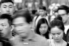 People on Market St 70 (TheseusPhoto) Tags: bnw blancoynegro blackandwhite sanfrancisco people monochrome monotone noir streetphotography street candid crowd blur