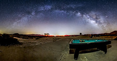Galactic Billiards In the Anza-Borrego Desert (slworking2) Tags: jacumbahotsprings california us anzaborrego anzaborregodesertstatepark doscabezas milkyway desert night sky galaxy panorama billiards pooltable