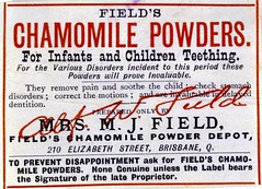 Fields Chamomile Powders label (State Library of Queensland, Australia) Tags: advertising advertisement medicine patentmedicines painmedicine teething childrensmedicine