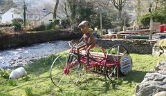 Sunny day in Beddgelert (lesleydugmore) Tags: woodenman beddgelert northwales sheep river stone wall bench houses outside outdoor nationalpark green