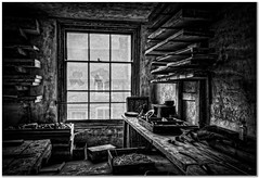 The abandoned factory (Hugh Stanton) Tags: window bench shelves planks tools workplace appicoftheweek