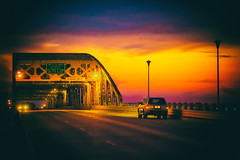 Trying to Make Some Sense of It All (Thomas Hawk) Tags: america caddo caddoparish longallenbridge louisiana shreveport usa unitedstates unitedstatesofamerica bridge sunrise fav10 fav25 fav50 fav100