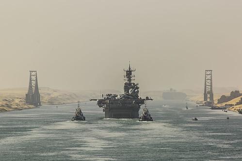 USS Iwo Jima (LHD 7) transits through the Suez Canal.