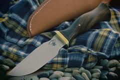 Jesse Hemphill, Lil'1. (EOS) (Mega-Magpie) Tags: canon eos 60d indoors knife jesse hemphill lil1 made escanaba mi michigan usa america rocks plaid shirt leather sheath