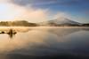 Trout Lake Easter Sunrise (optimalfocusphotography) Tags: northerncalifornia california usa landscape siskiyoucounty nature mist fog lake sunrise mountshasta mountain