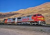 Warbonnets at Wishram (rolfstumpf) Tags: usa oregon wishram bnsf santafe warbonnet generalelectric ge c408w c449w atsf867 bnsf726 locomotive sky columbiariver spokaneportlandseattle burlingtonnorthern fujichrome mamiya railway railroad military trains