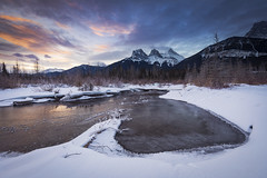 Good Morning Canmore (andrewpmorse) Tags: canmore alberta canon west mountains threesisters sunrise sky water winter ice canada landscape landscapes clouds daylight 1635mmf4l leefilters leelandscapepolarizer lee06ndgrad