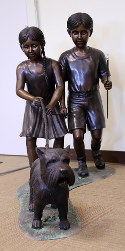 Bronze Children Walking Scottie Sculpture, Signed Leonardo Rossi ($1,176.00)