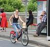 20315 (Waterford_Man) Tags: jeans girl borisbike bridge people path candid london wheels cycle cyclist