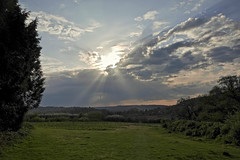 Sunburst (Deepgreen2009) Tags: sun burst cloud heat surrey storm rays crepuscular