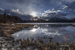 Vermillion sun rays (Canon Queen Rocks (2,130,000 + views)) Tags: dawn views vista vermillionlakes mountains momentsbycelinecom mothernature mountain landscape lake landscapes reflections grass clouds sky scenery scenic sunrise nature canada banffnationalpark snow sun sunrays water serene