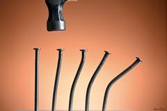 No Finesse (Tyson J) Tags: tyson nikon 60mm sb800 d600 nails metal orange hammer finesse bent bending hit whack tabletop
