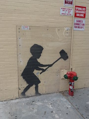 Banksy - Hammer Boy (TheMachineStops) Tags: outdoor manhattan nyc newyorkcity banksy graffiti streetart urbanart 2014 uws upperwestside hammerboy brick