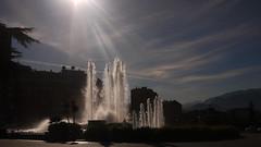 Plaza de Castilla (Jusotil_1943) Tags: 201017 nubes clouds nwn fuente agua water fountain plaza square contraluz piazza