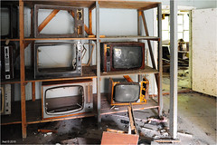 In the Pripyat Shopping Center (Aad P.) Tags: chernobyl чорнобиль pripyat припять ukraine україна sovietunion cccp nuclearpowerplant radioactivity radiation urbex urbexphotography exclusionzone shoppingcenter televisionset shopoftelevisionsets