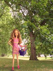 Easter Sunday! (toobila) Tags: barbie barbiedoll mattel model madetomovedoll madetomovebarbie pink 90sbarbie park easter trees fashion fashionphotography dollphotography doll basket sunshine sunny