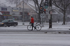 Biker in Snowstorm (pingnews.com) Tags: bicycle bike byshapinsky nature pingnews seasons snow technologyandtransportation transportation winter