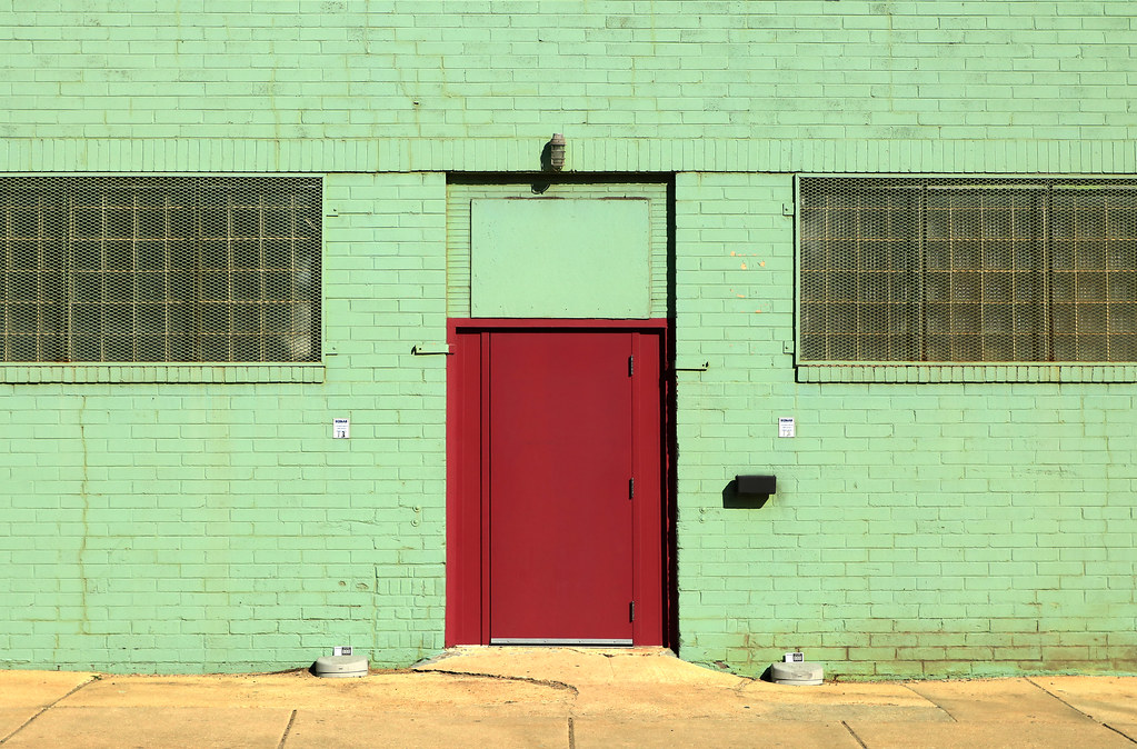 Red Door   Green Wall (oldogs) Tags: Red Green Door Architecture Symmetry  Symmetrical